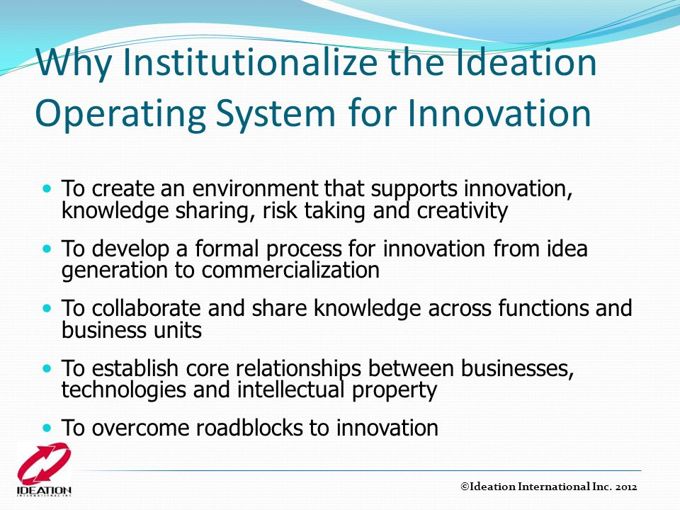 Why Institutionalize the Ideation Operating System for Innovation