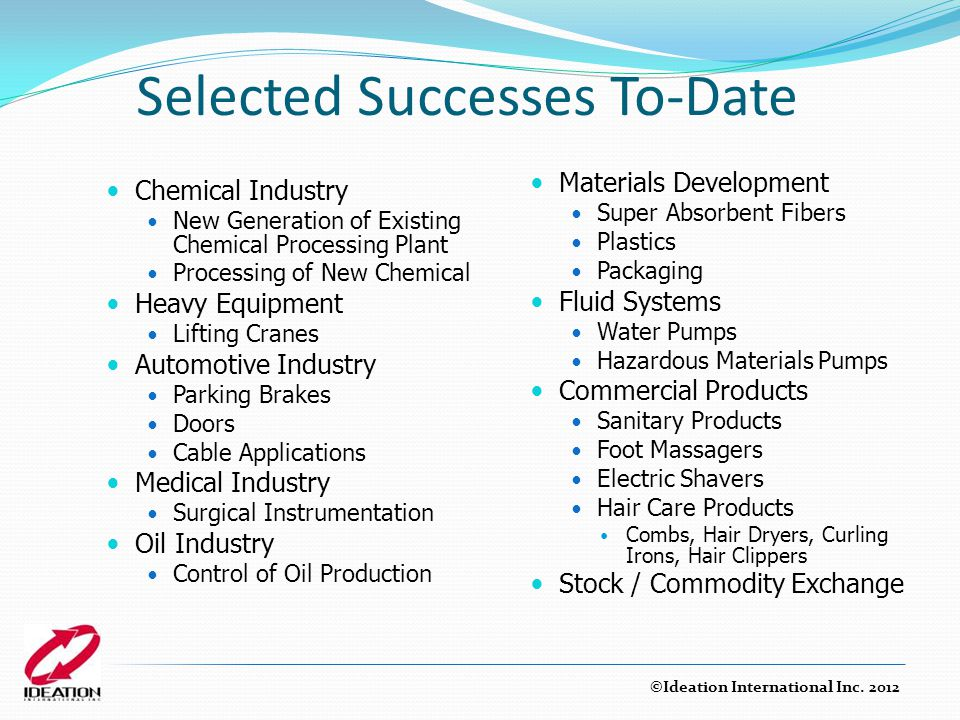 Selected Successes To-Date