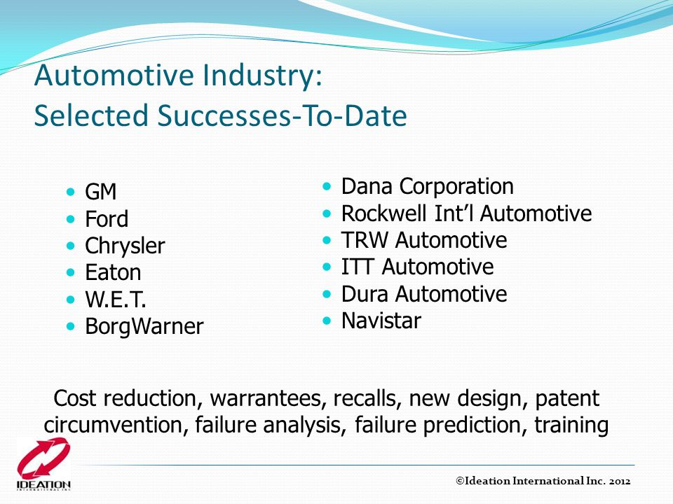 Automotive Industry: Selected Successes-To-Date
