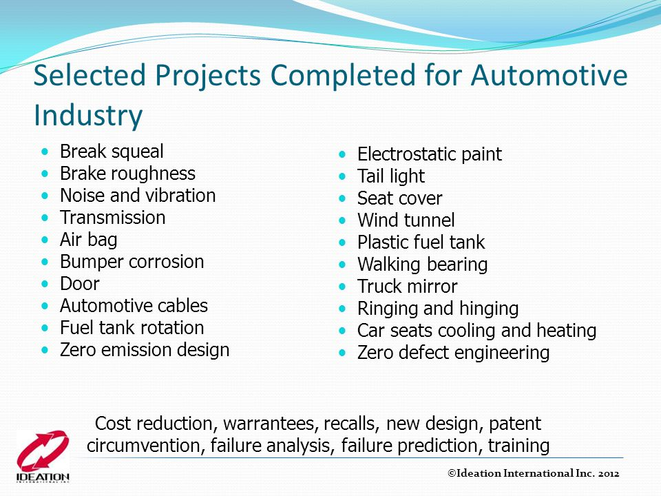 Selected Projects Completed for Automotive Industry