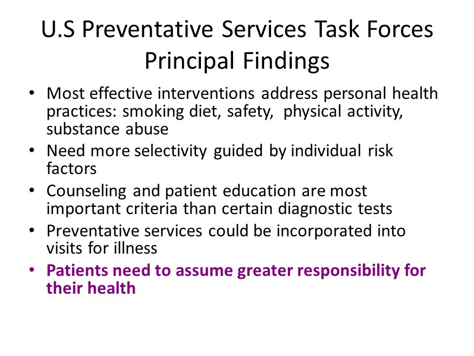 U.S Preventative Services Task Forces Principal Findings