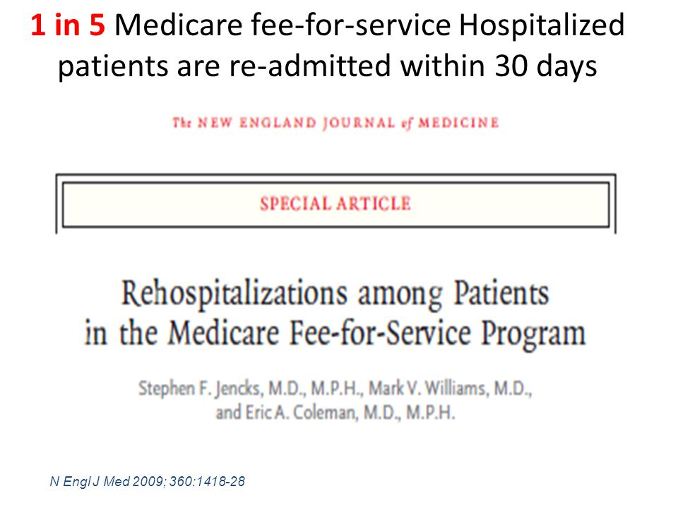 1 in 5 Medicare fee-for-service Hospitalized patients are re-admitted within 30 days