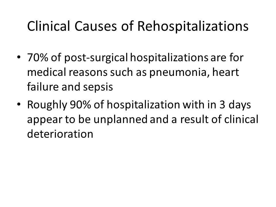 Clinical Causes of Rehospitalizations