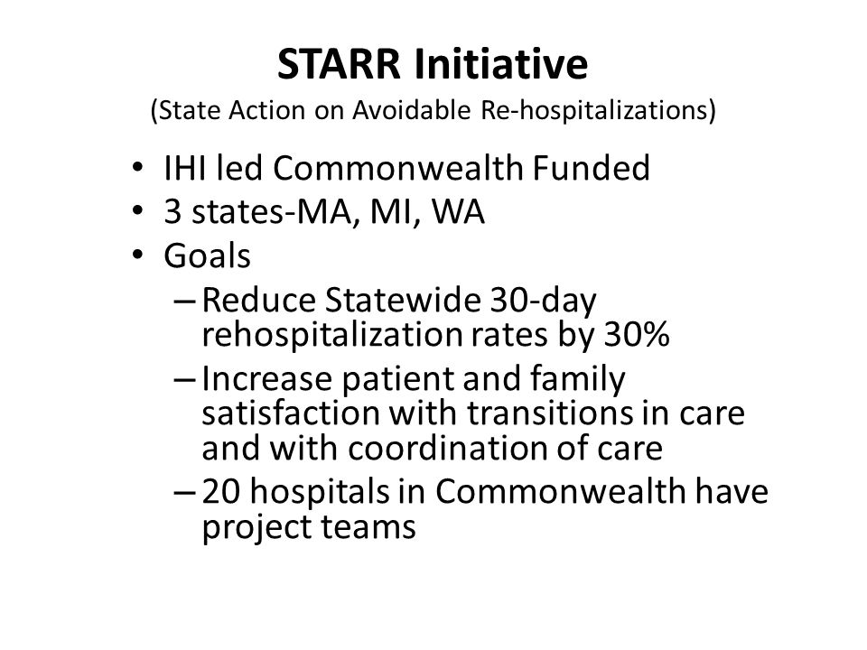 STARR Initiative (State Action on Avoidable Re-hospitalizations)