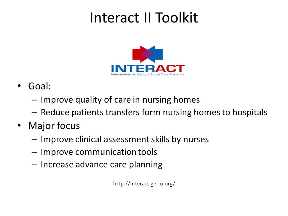 Interact II Toolkit Goal: Major focus