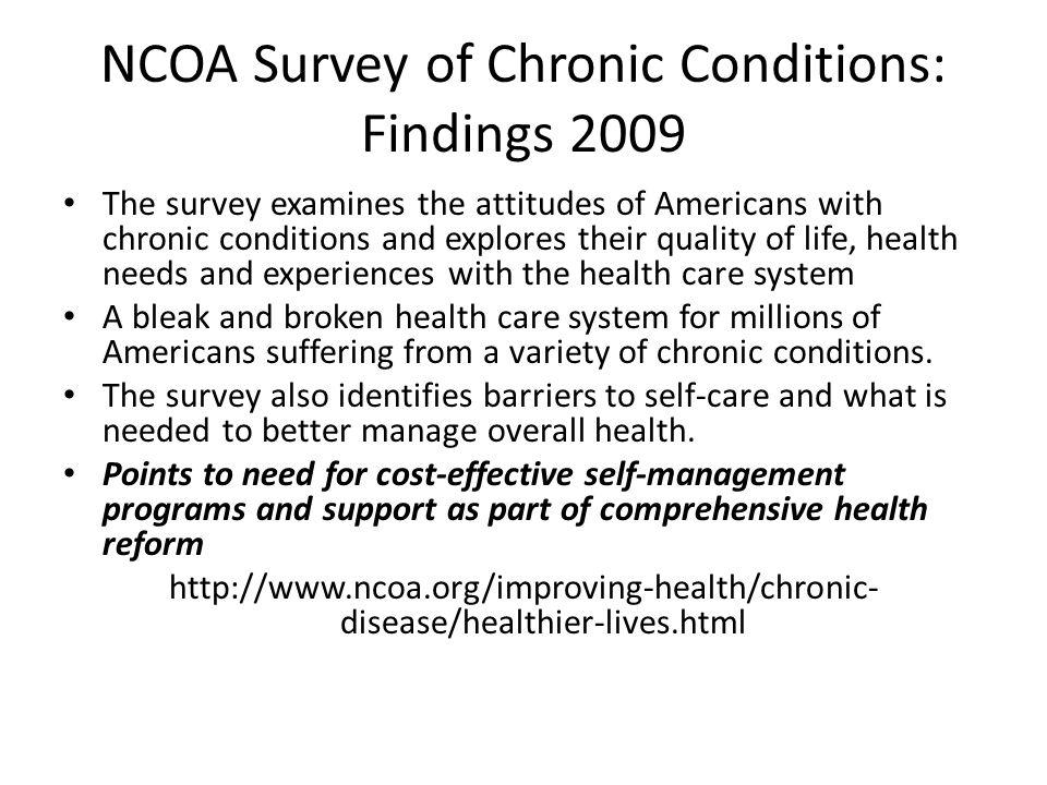 NCOA Survey of Chronic Conditions: Findings 2009