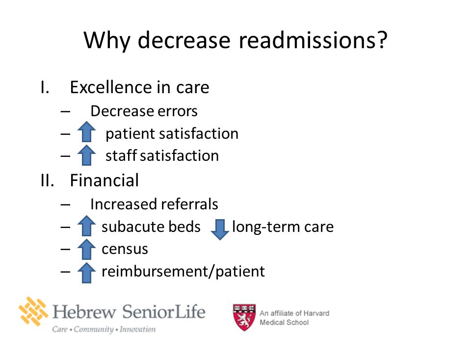 Why decrease readmissions