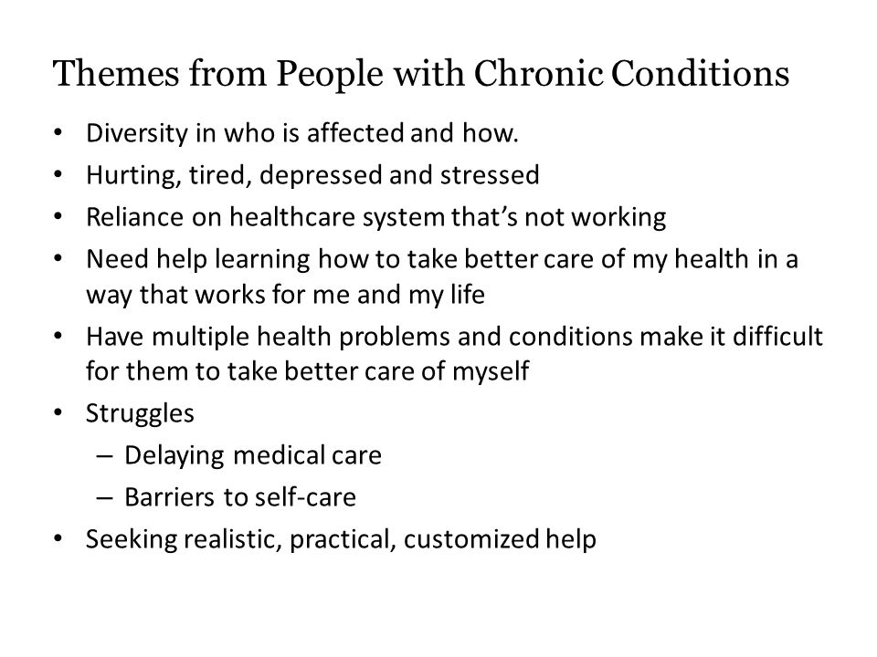 Themes from People with Chronic Conditions