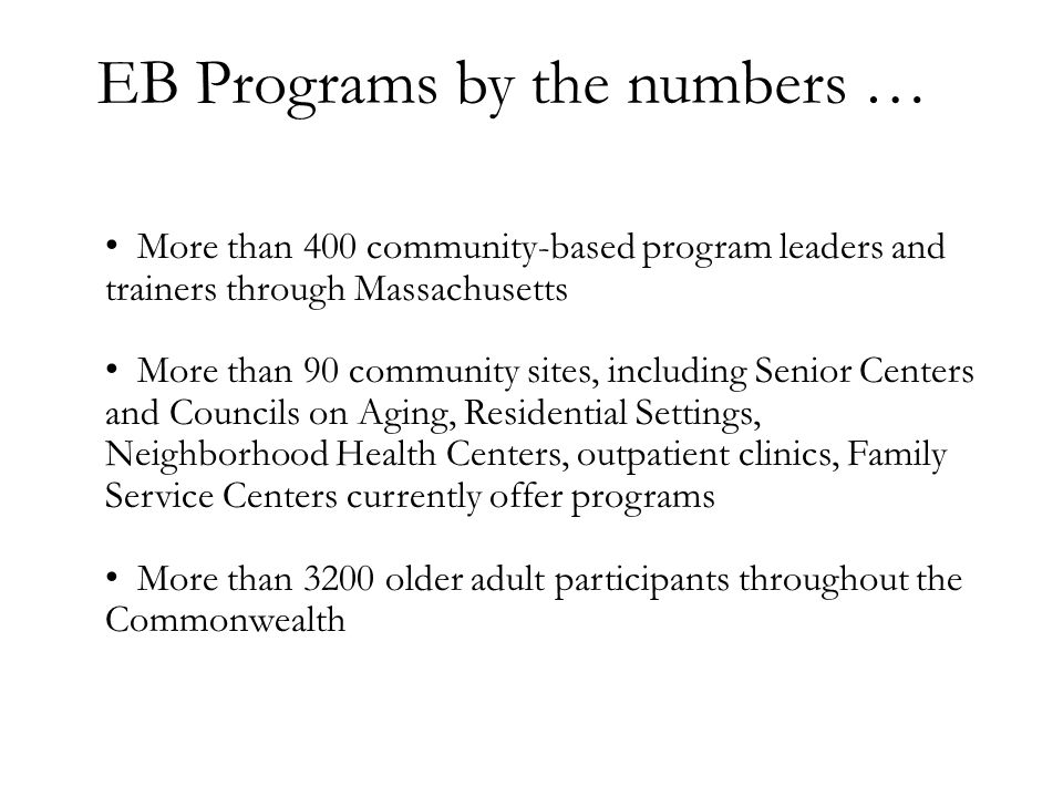 EB Programs by the numbers …
