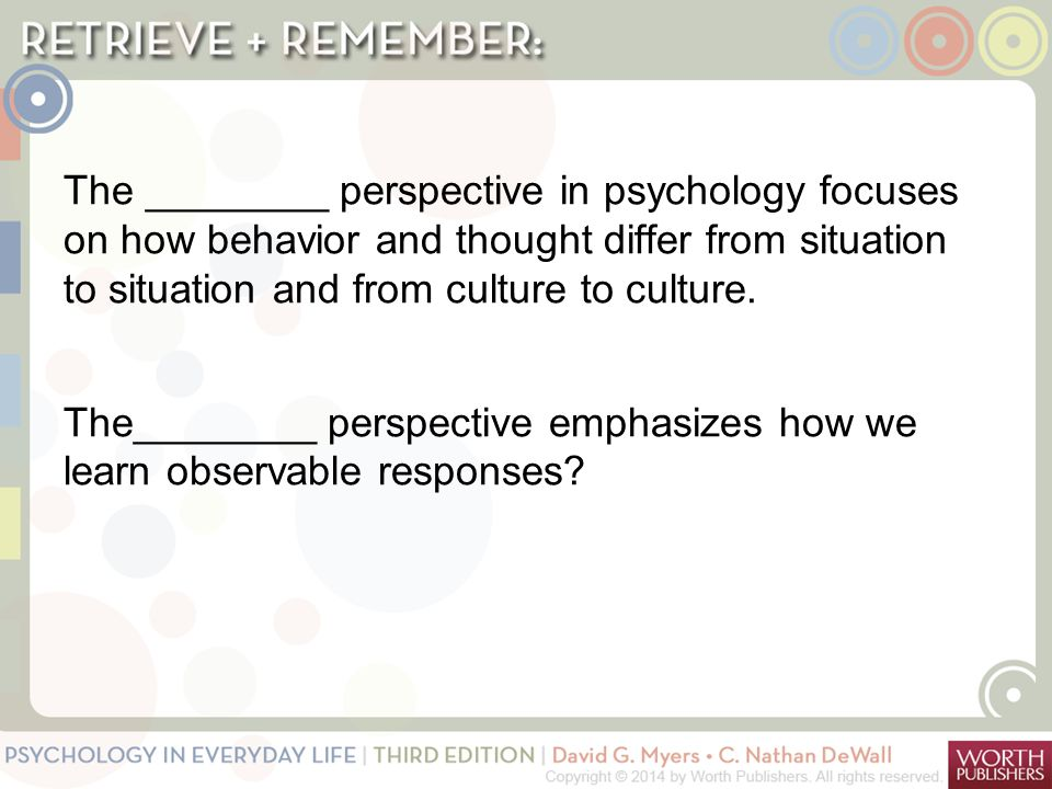 The ________ perspective in psychology focuses on how behavior and thought differ from situation to situation and from culture to culture. The________ perspective emphasizes how we learn observable responses