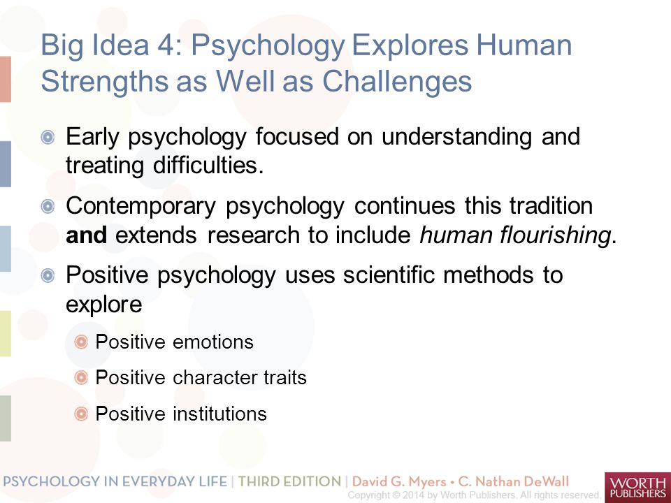 Big Idea 4: Psychology Explores Human Strengths as Well as Challenges