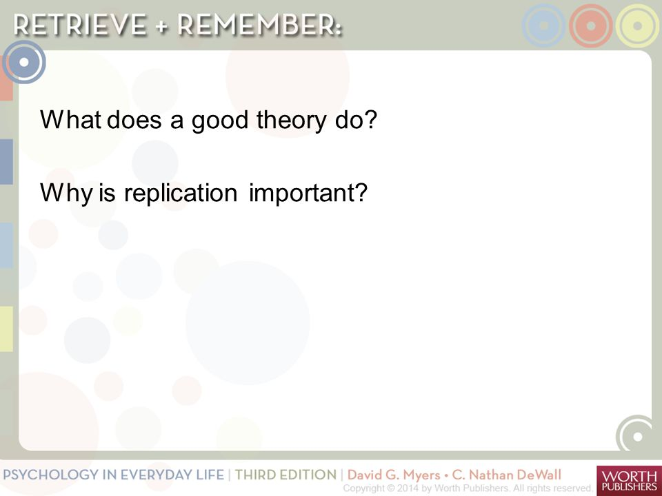 What does a good theory do Why is replication important