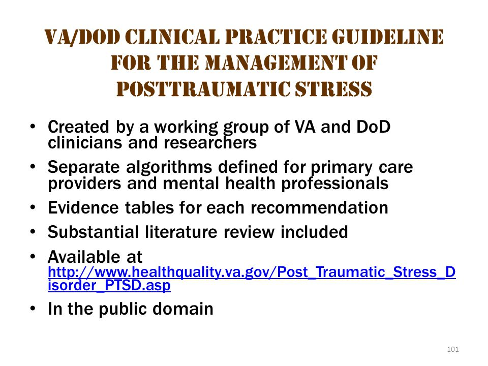 VA/DoD Clinical Practice Guideline for the Management of Posttraumatic Stress