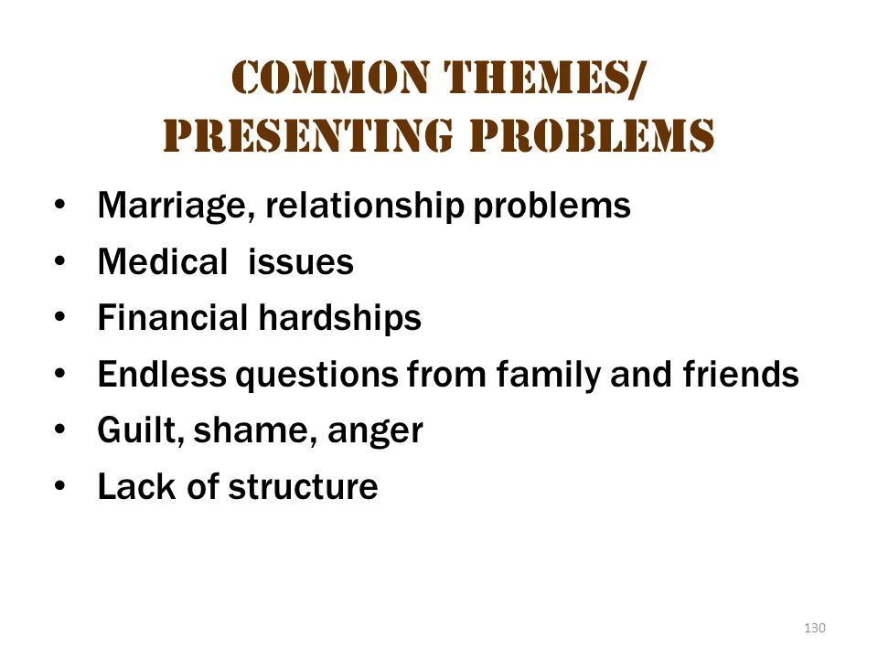 Common themes/presenting problems 1