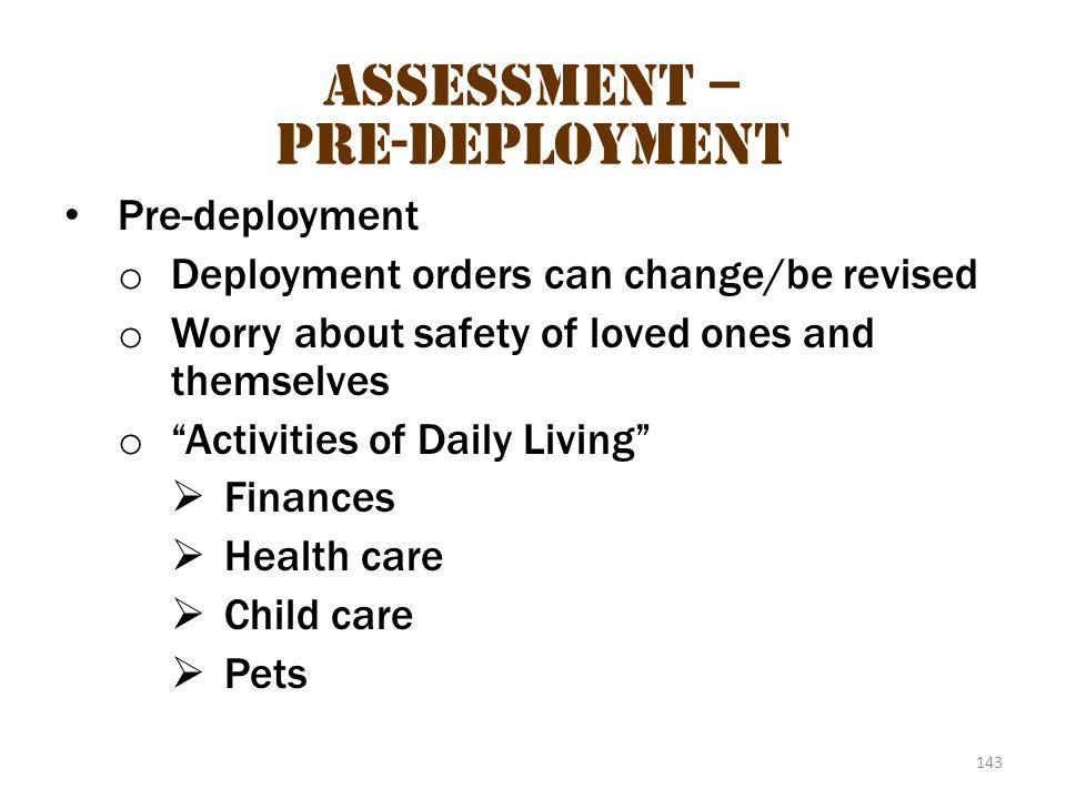 Assessment – pre-deployment 1