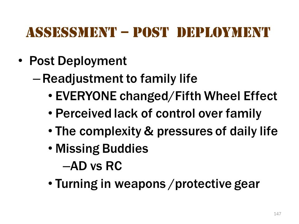 Assessment – Post-deployment 2
