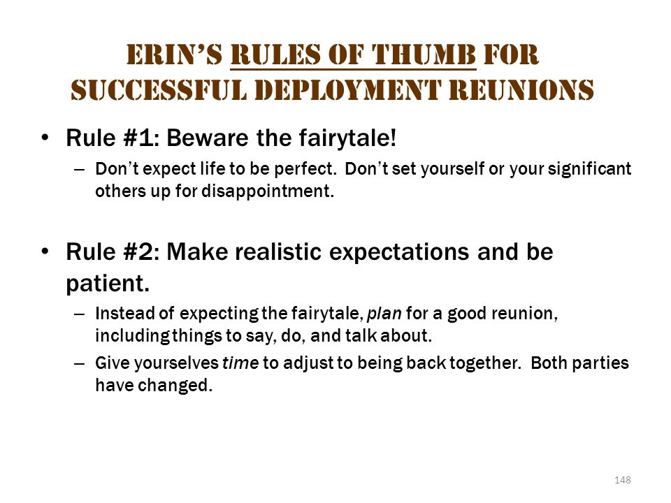 Erin's Rules of Thumb for Successful Deployment Reunions 1
