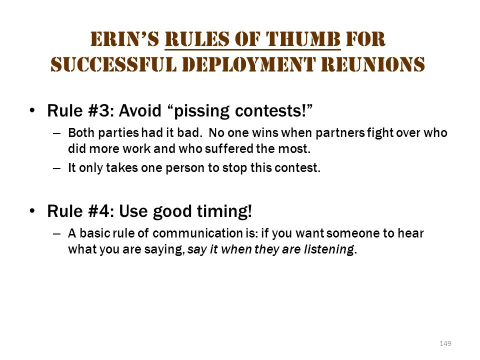 Erin's Rules of Thumb for Successful Deployment Reunions 2