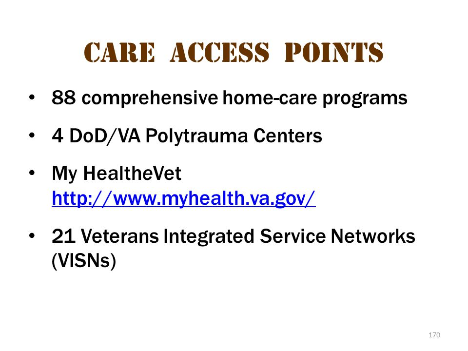 Care access points 88 comprehensive home-care programs