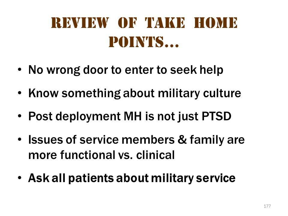 Review of take home points…