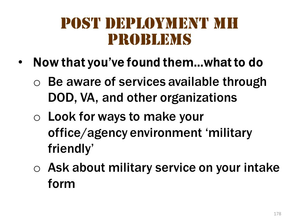 Post deployment MH problems 1