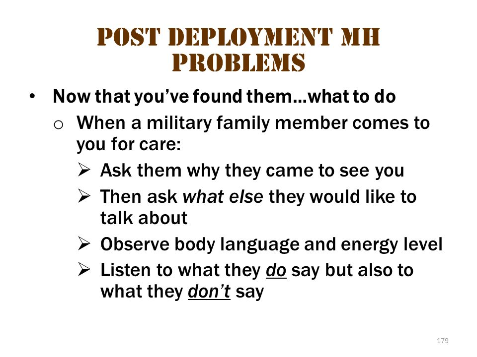 Post deployment MH problems 2