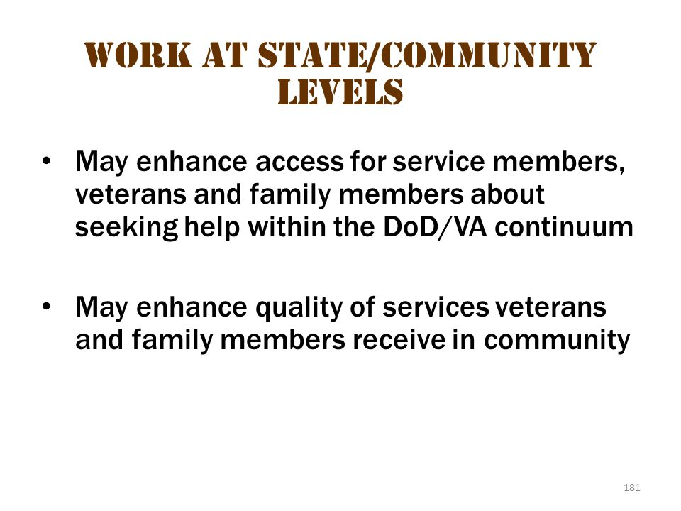 Work at State/community levels 1