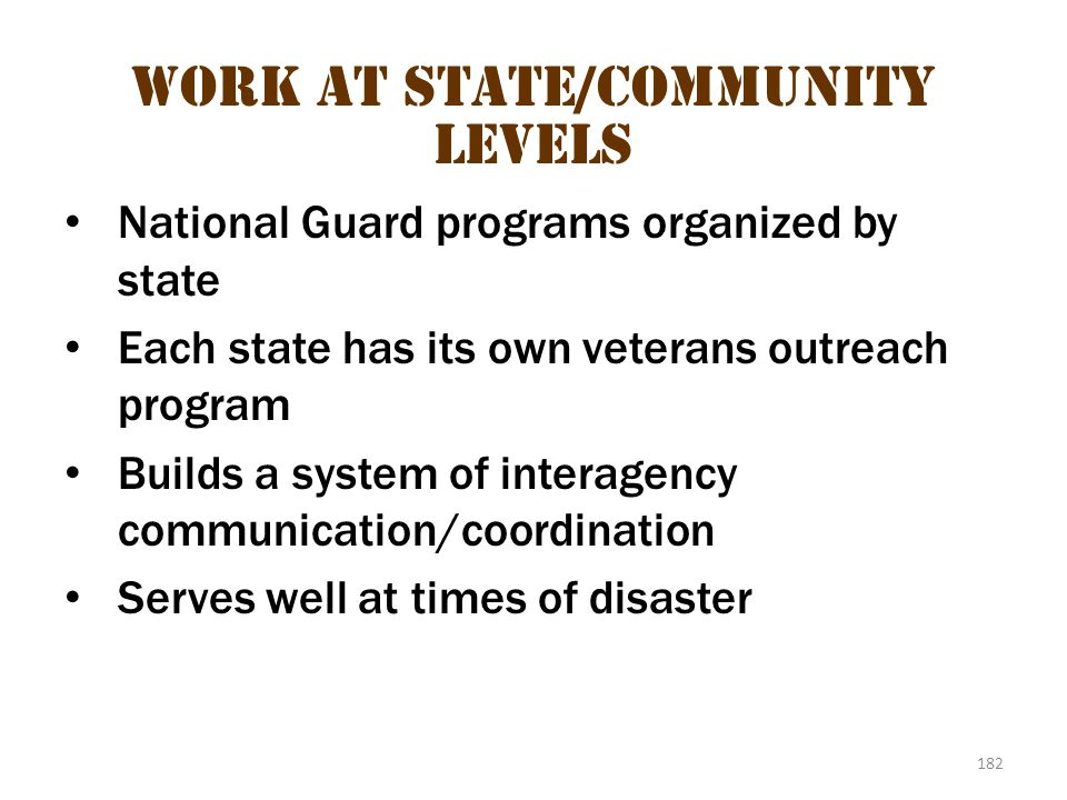 Work at State/community levels 2