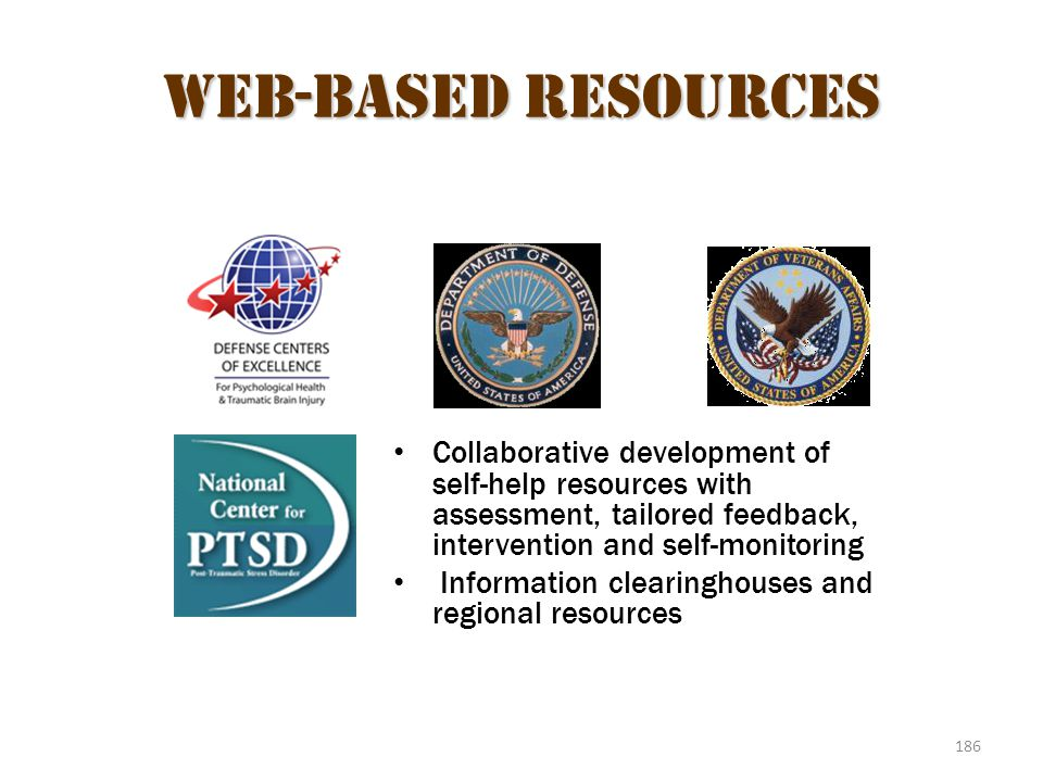 Web-Based Resources Collaborative development of self-help resources with assessment, tailored feedback, intervention and self-monitoring.