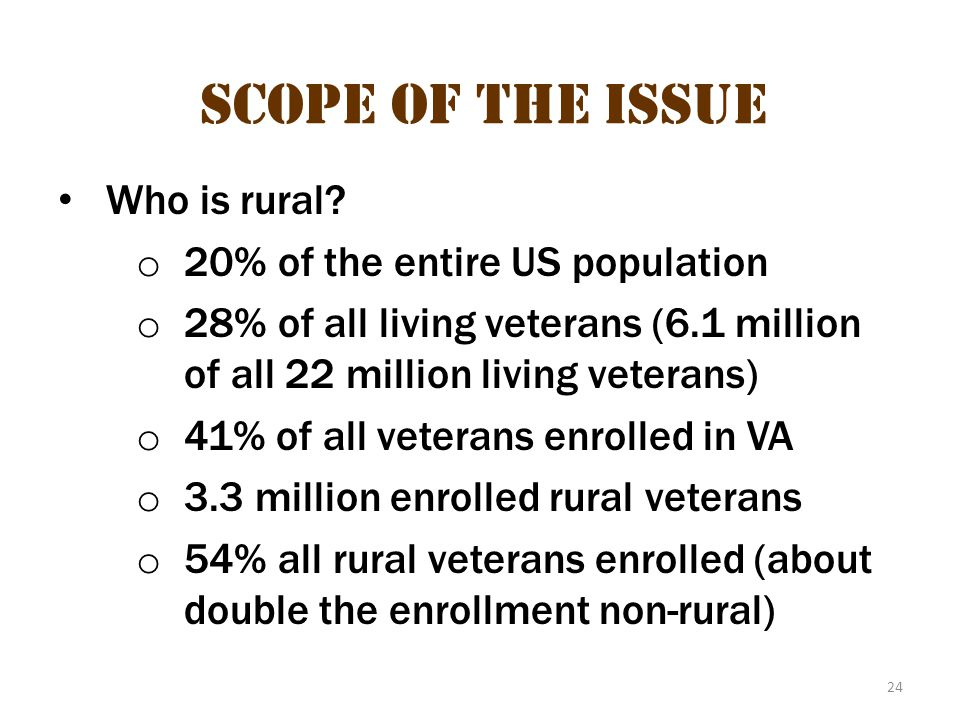 Scope of the issue 14 Scope of the Issue Who is rural