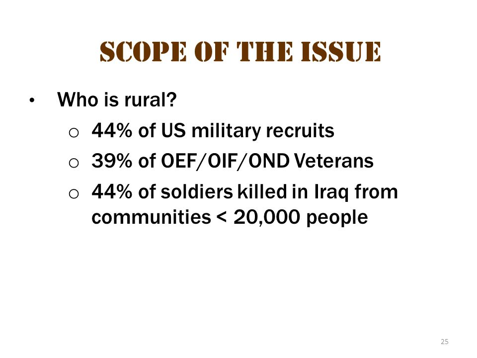 Scope of the issue 15 Scope of the Issue 44% of US military recruits