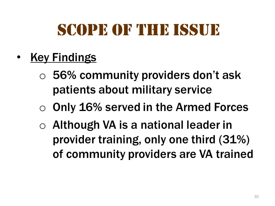 Scope of the issue 19 Scope of the Issue Key Findings