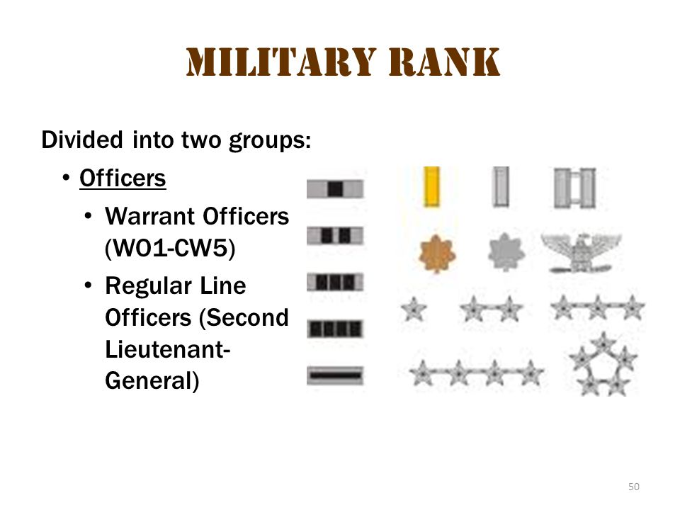 Military Rank 1 Military Rank Divided into two groups: Officers