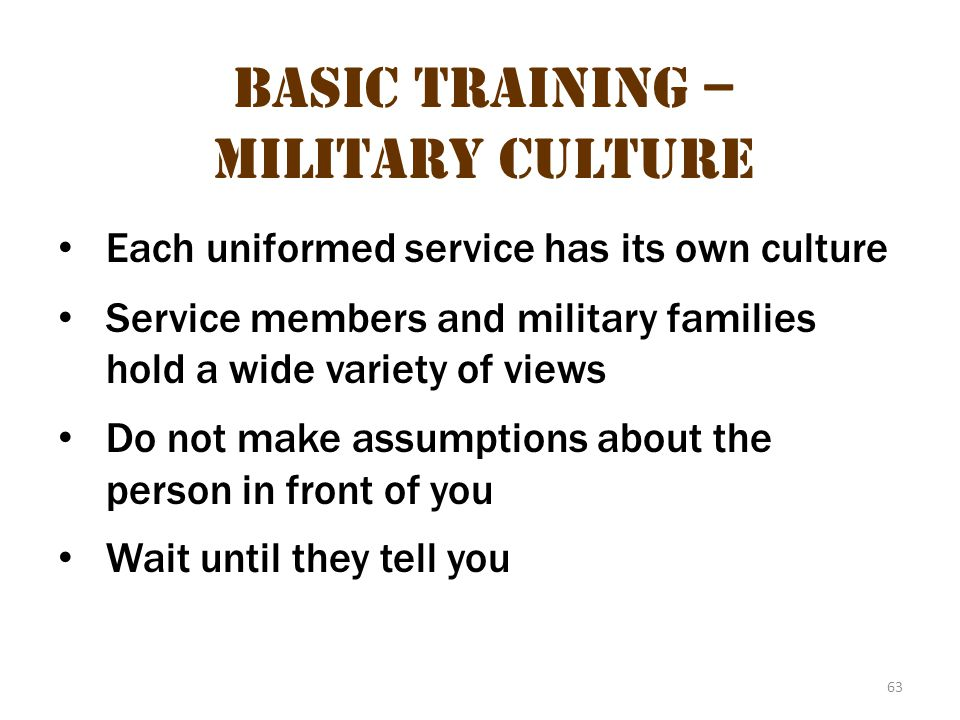 Basic Training – Military Culture 27