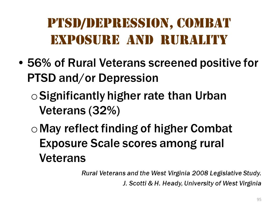 PTSD/Depression, Combat Exposure and Rurality