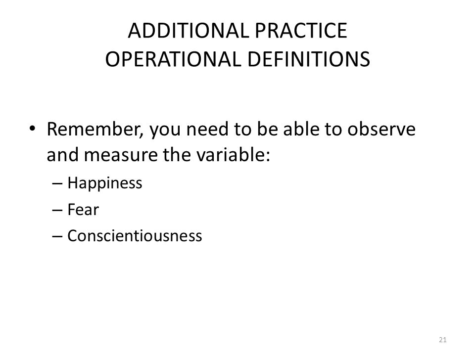 ADDITIONAL PRACTICE OPERATIONAL DEFINITIONS