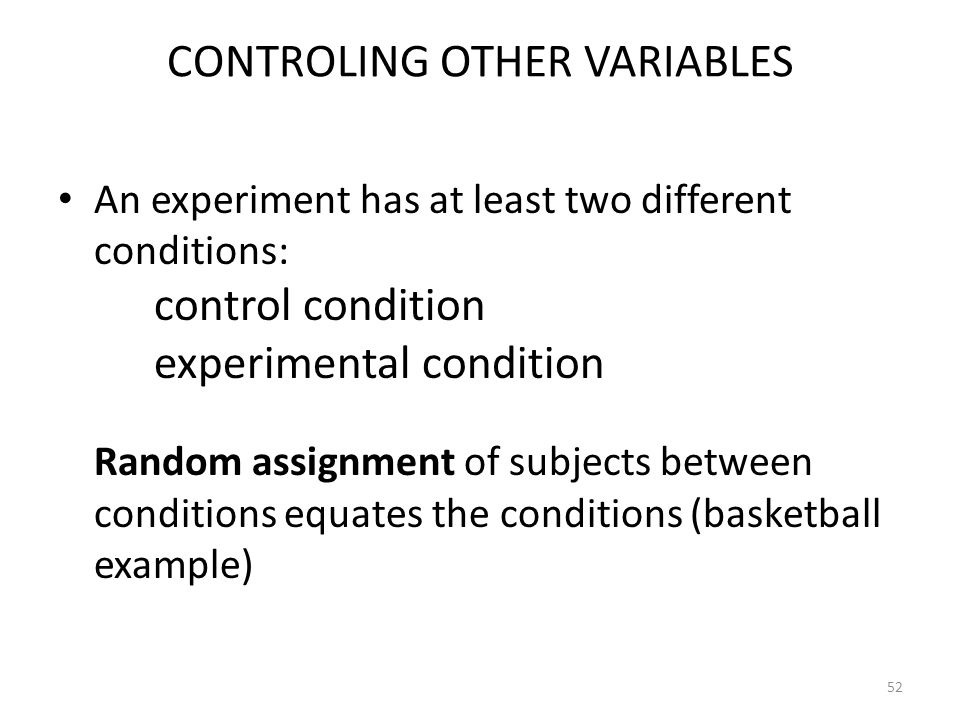 CONTROLING OTHER VARIABLES