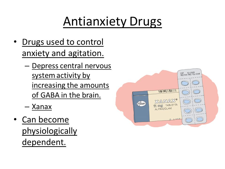 Antianxiety Drugs Drugs used to control anxiety and agitation.