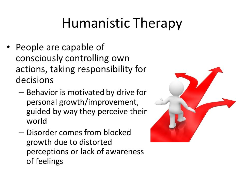 Humanistic Therapy People are capable of consciously controlling own actions, taking responsibility for decisions.