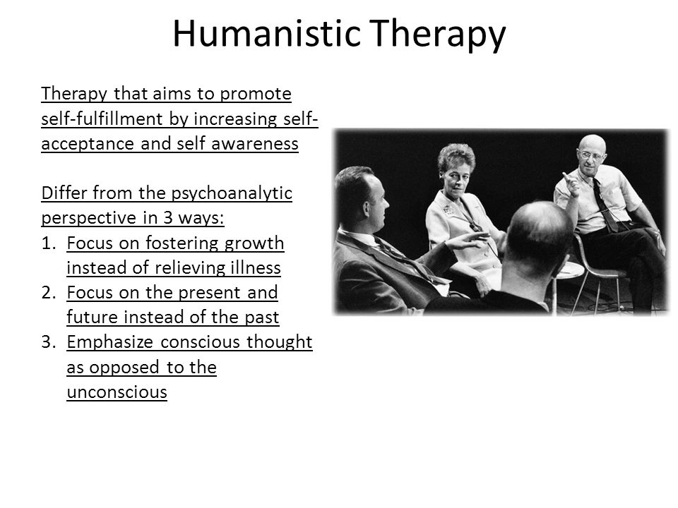 Humanistic Therapy Therapy that aims to promote self-fulfillment by increasing self-acceptance and self awareness.