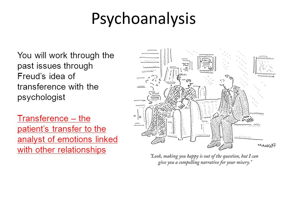 Psychoanalysis You will work through the past issues through Freud's idea of transference with the psychologist.