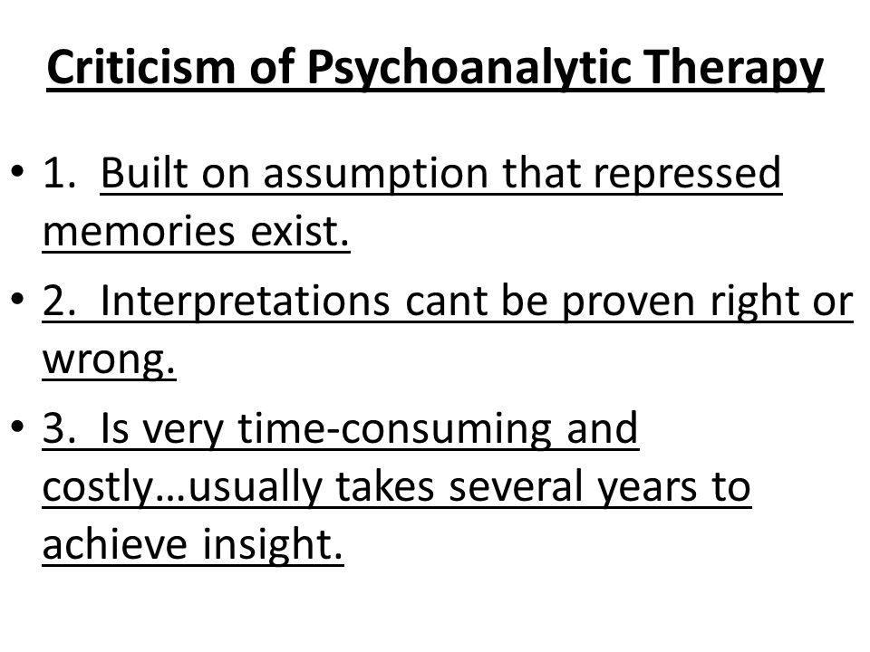 Criticism of Psychoanalytic Therapy