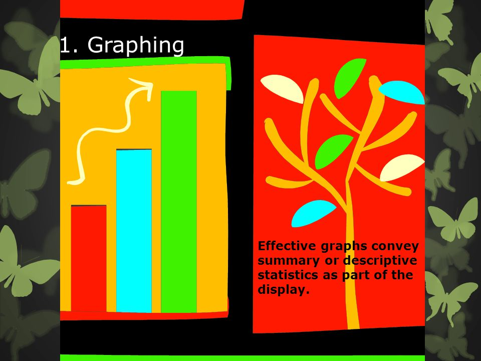 1. Graphing Effective graphs convey summary or descriptive statistics as part of the display.