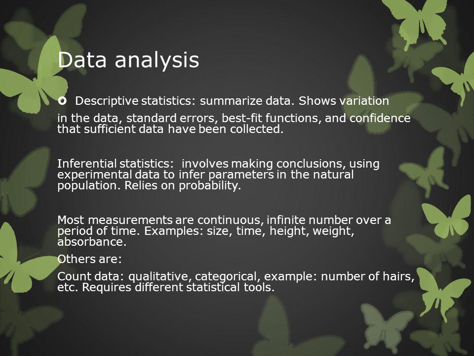 Data analysis Descriptive statistics: summarize data. Shows variation