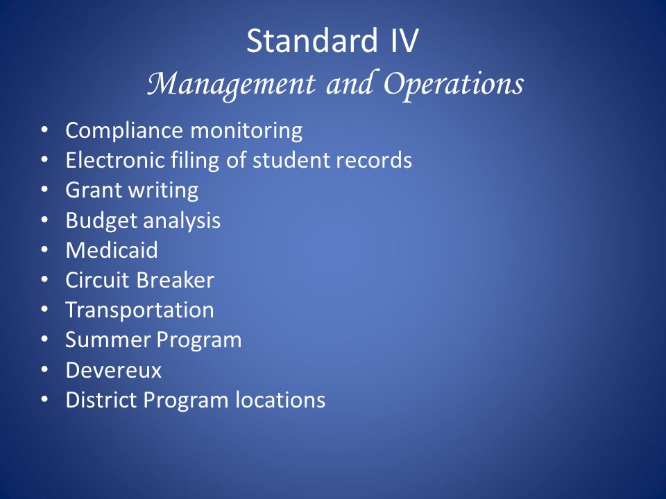 Standard IV Management and Operations