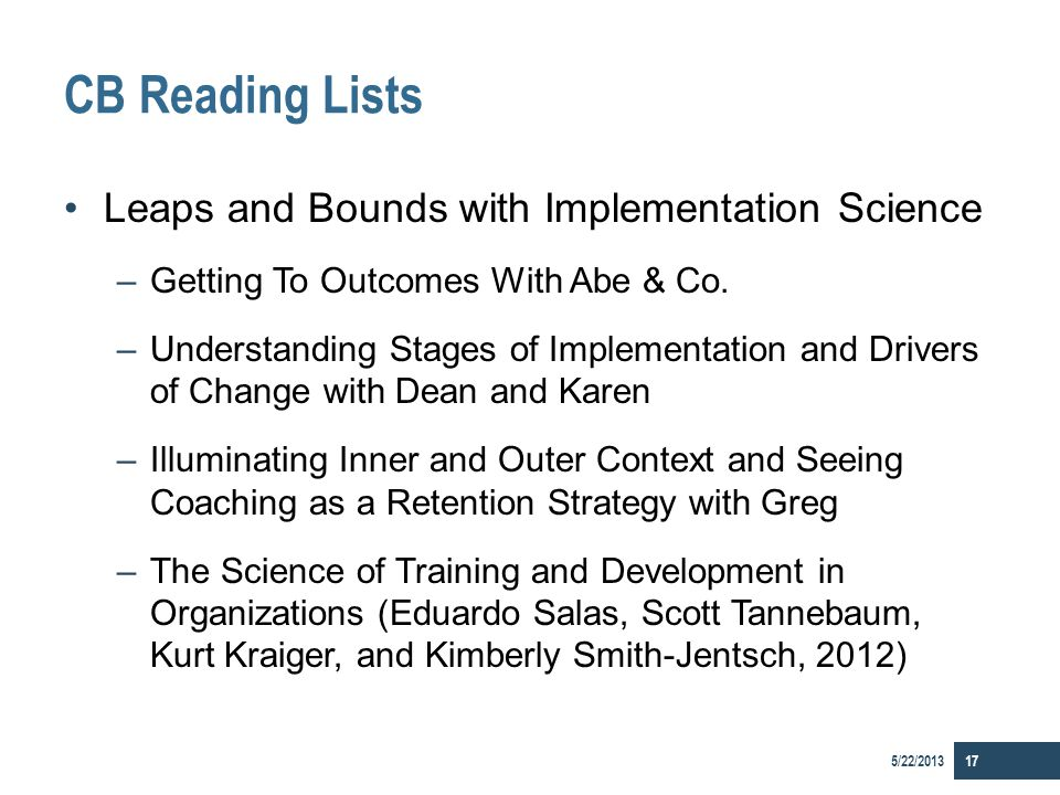 CB Reading Lists Leaps and Bounds with Implementation Science