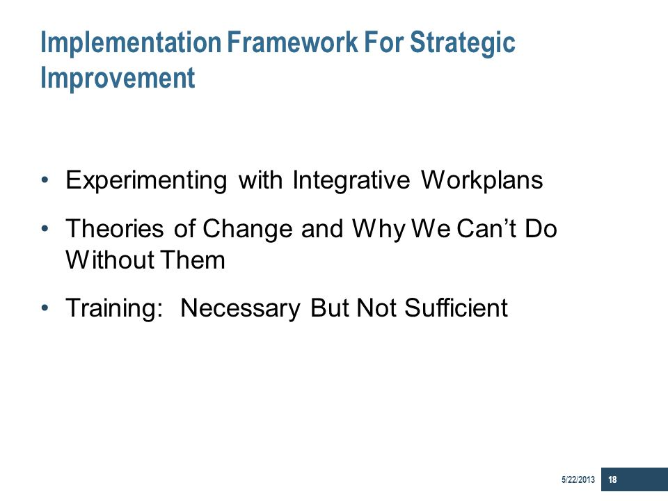 Implementation Framework For Strategic Improvement