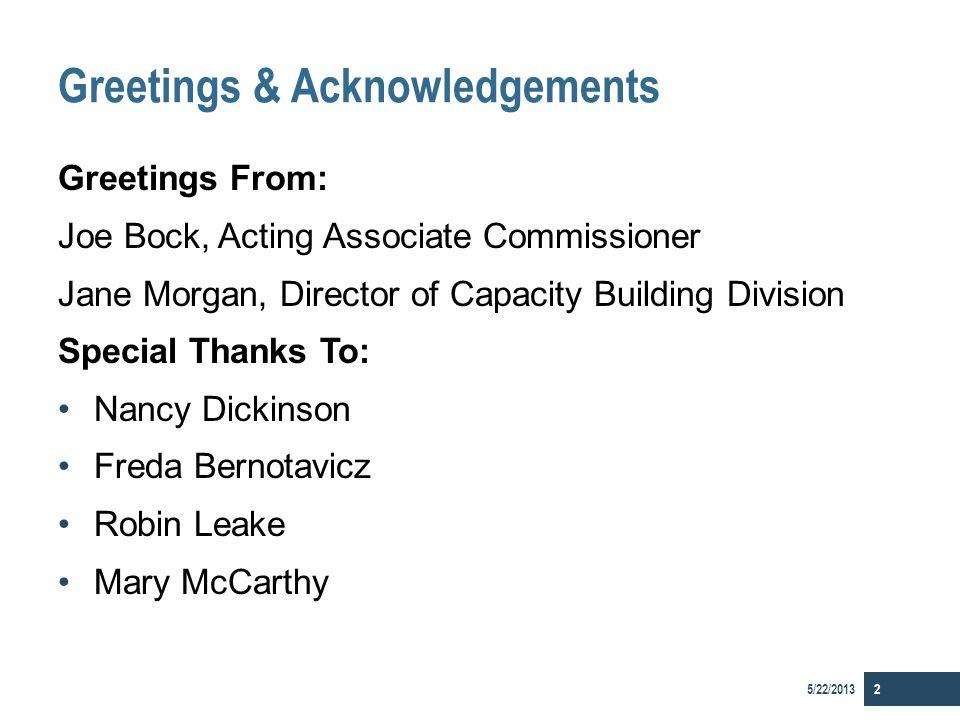 Greetings & Acknowledgements