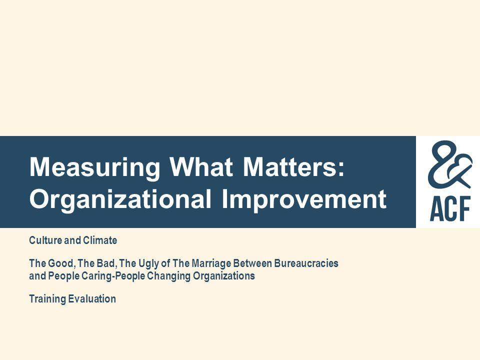 Measuring What Matters: Organizational Improvement