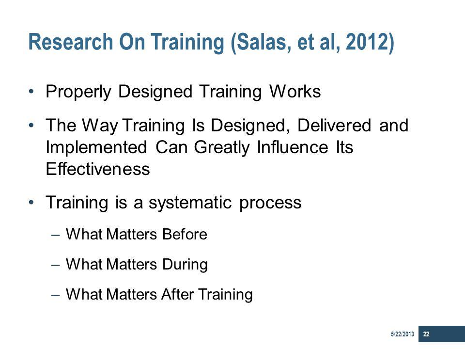 Research On Training (Salas, et al, 2012)
